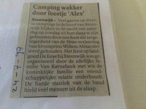 Krantenbericht over 30e verjaardag van Willem-Alexander